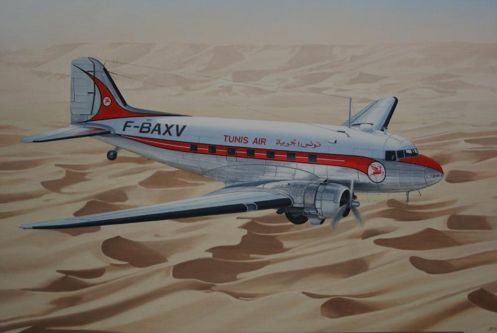 DC-3 Tunis Air - 73x54 huile