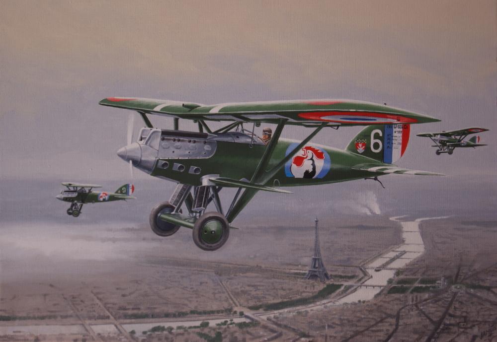 Nieuport au dessus de Paris - 65 X 50 - VENDU / SOLD